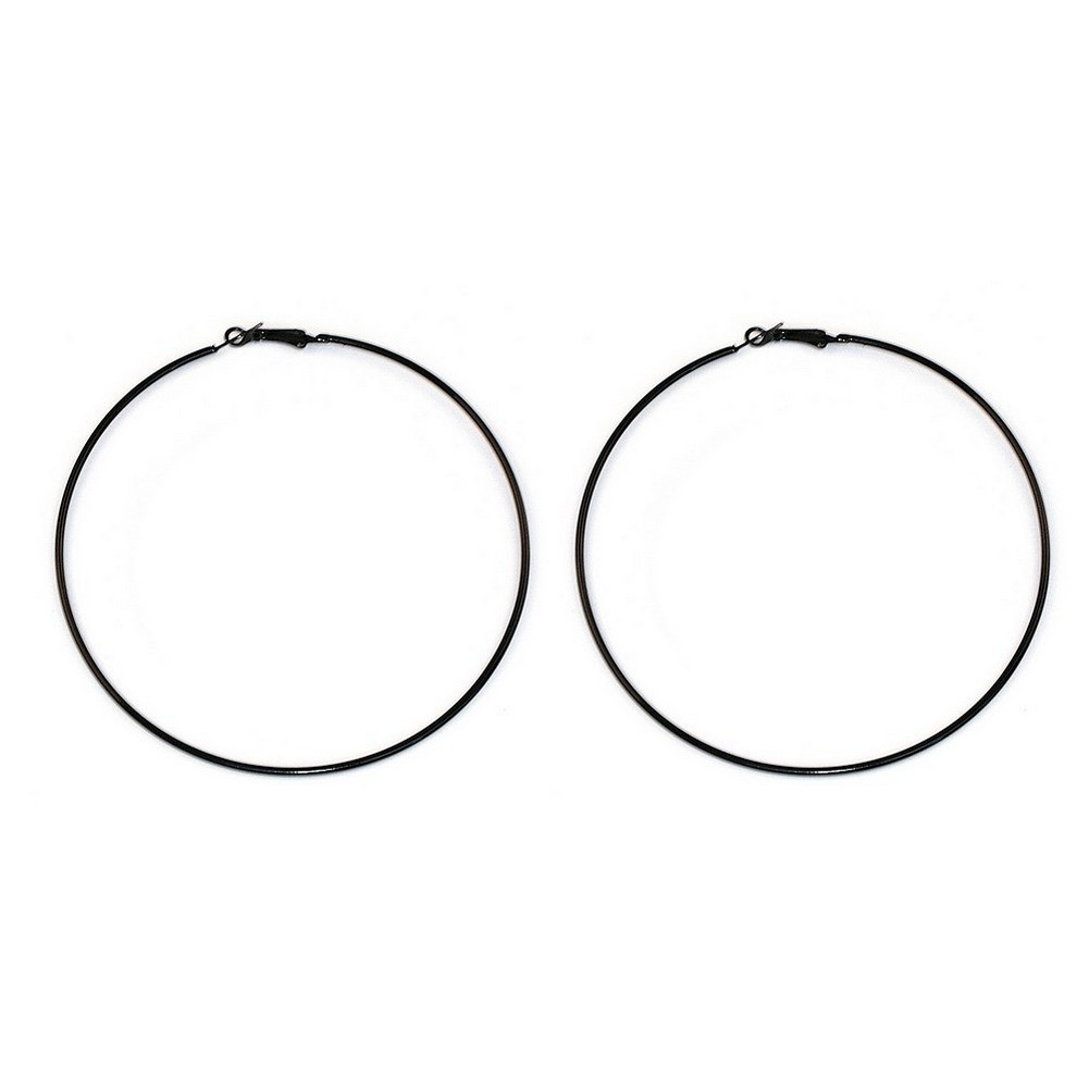 Hoop Earring Black 97mm Made With Iron & Enamel by JOE COOL