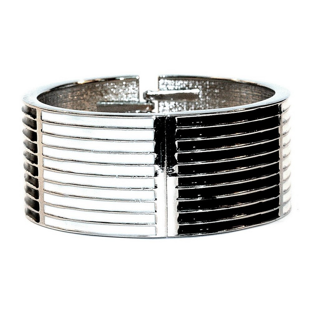 Bangle Black & White Stripe 60mm Made With Zinc Alloy & Enamel by JOE COOL