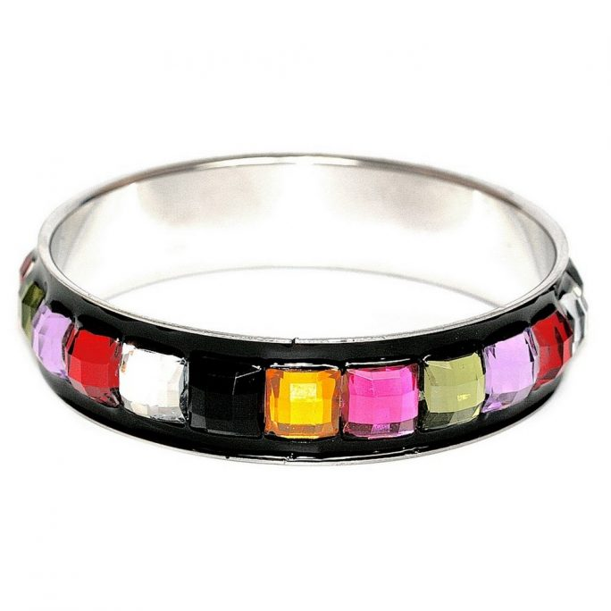 Bangle Crystal On Black Band 17mm Made With Zinc Alloy & Resin by JOE COOL