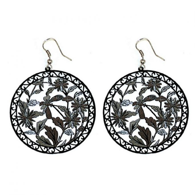 Drop Earring Etched & Painted Leaves & - Flower Designs Made With Copper by JOE COOL