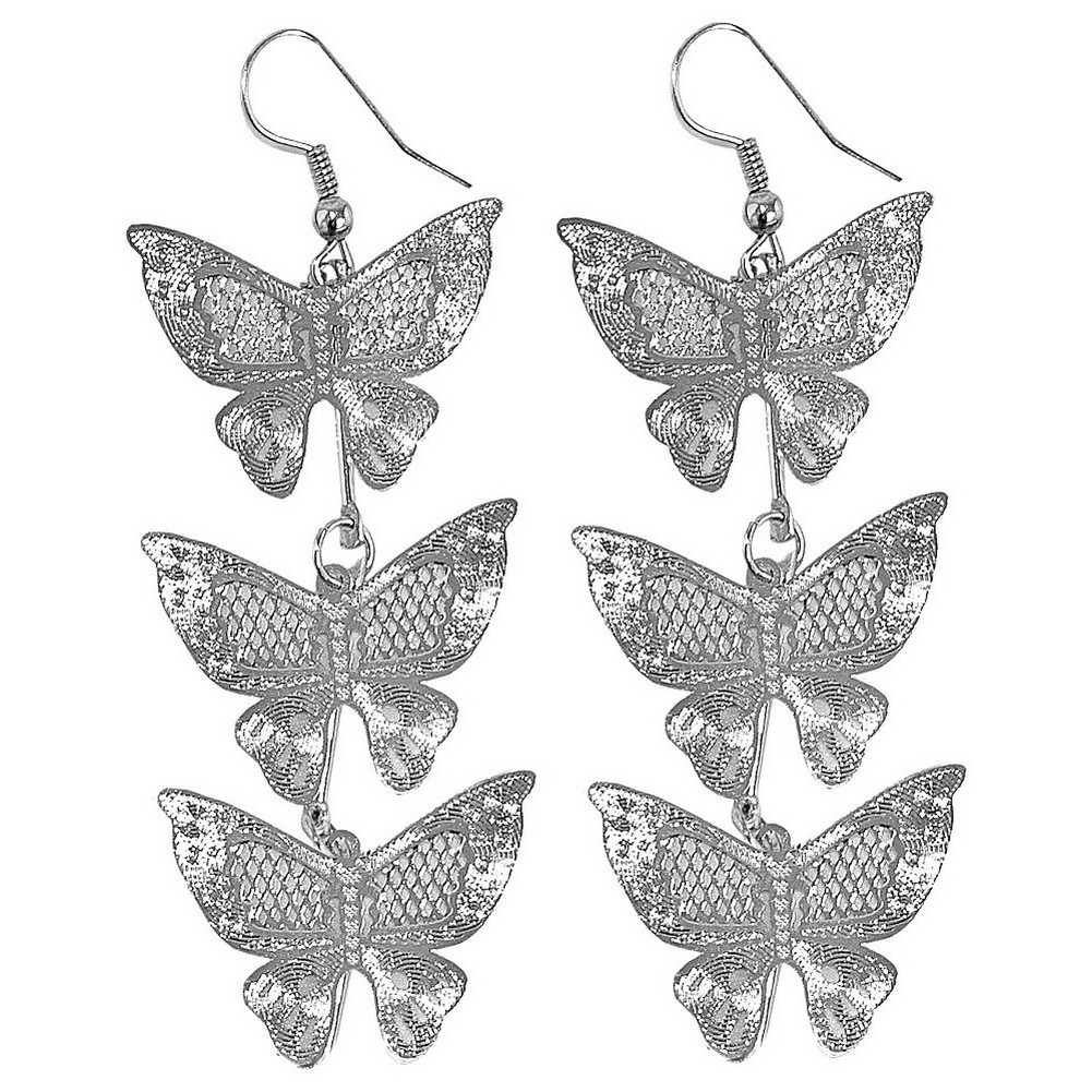 Drop Earring 3 Butterflies Made With Copper & Tin Plate by JOE COOL