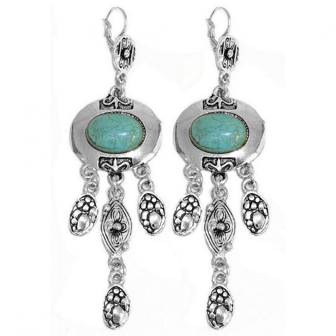 Drop Earring Oval Shield 3 Strand Drop Made With Zinc Alloy & Stone by JOE COOL
