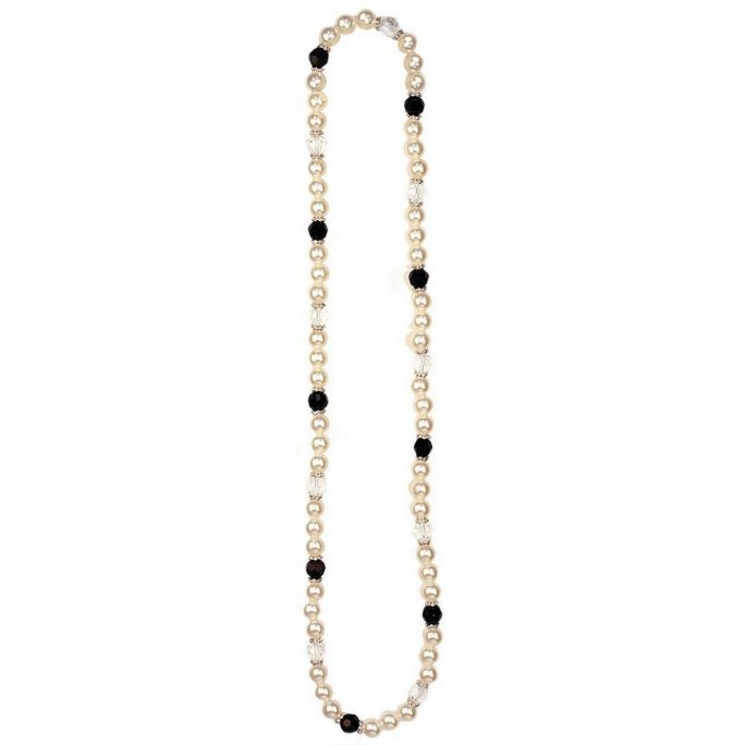 Necklace Blk/clear Bead Crystal Rondelle Made With Resin & Pearl by JOE COOL