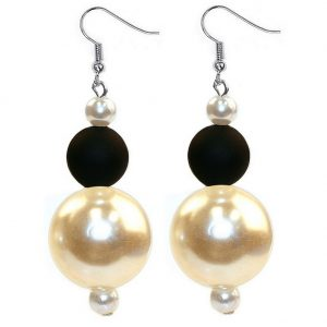 Drop Earring Black Rubberised Made With Resin & Pearl by JOE COOL