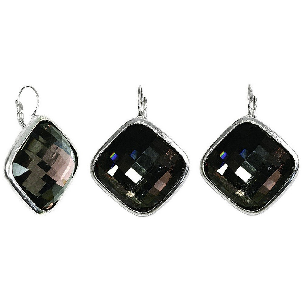Drop Earring Faceted Crystal Smoky Diamond Made With Resin & Zinc Alloy by JOE COOL