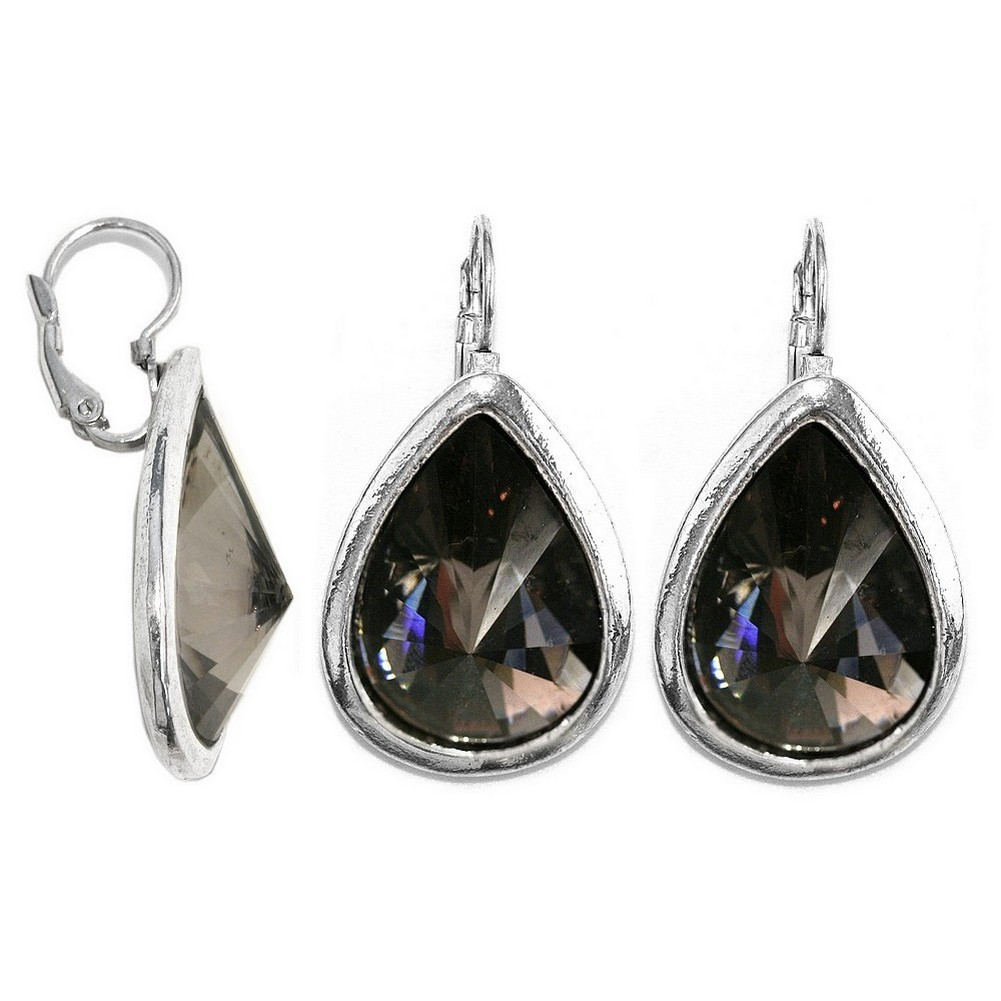 Drop Earring Faceted Crystal Smoky Teardrops Made With Resin & Zinc Alloy by JOE COOL