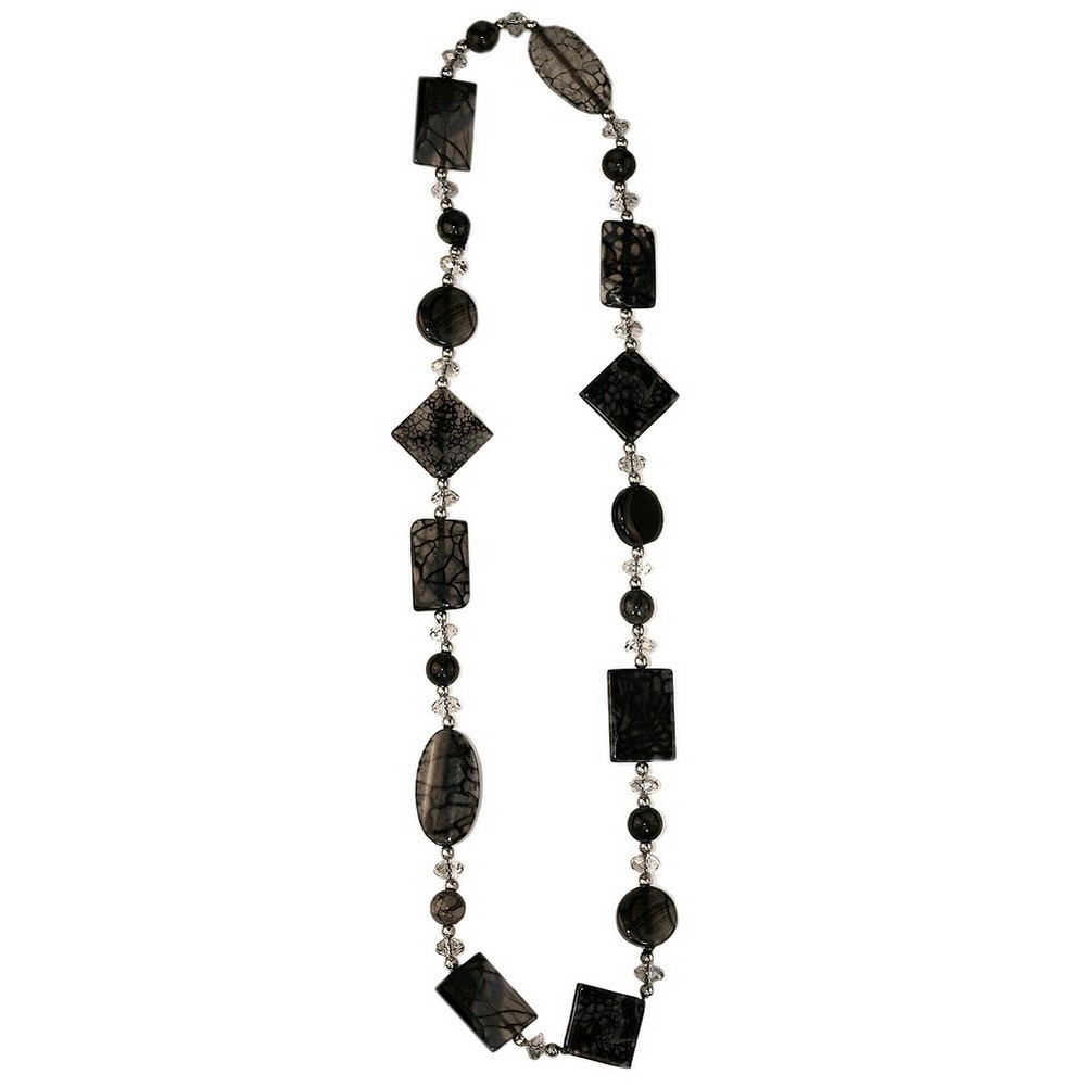Necklace Grey Moss Agate Made With Stone & Crystal Glass by JOE COOL