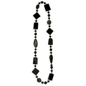 Bead String Necklace Black On Black Made With Agate & Crystal Glass by JOE COOL