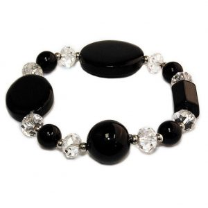 Bracelet Black & Clear Made With Agate & Crystal Glass by JOE COOL