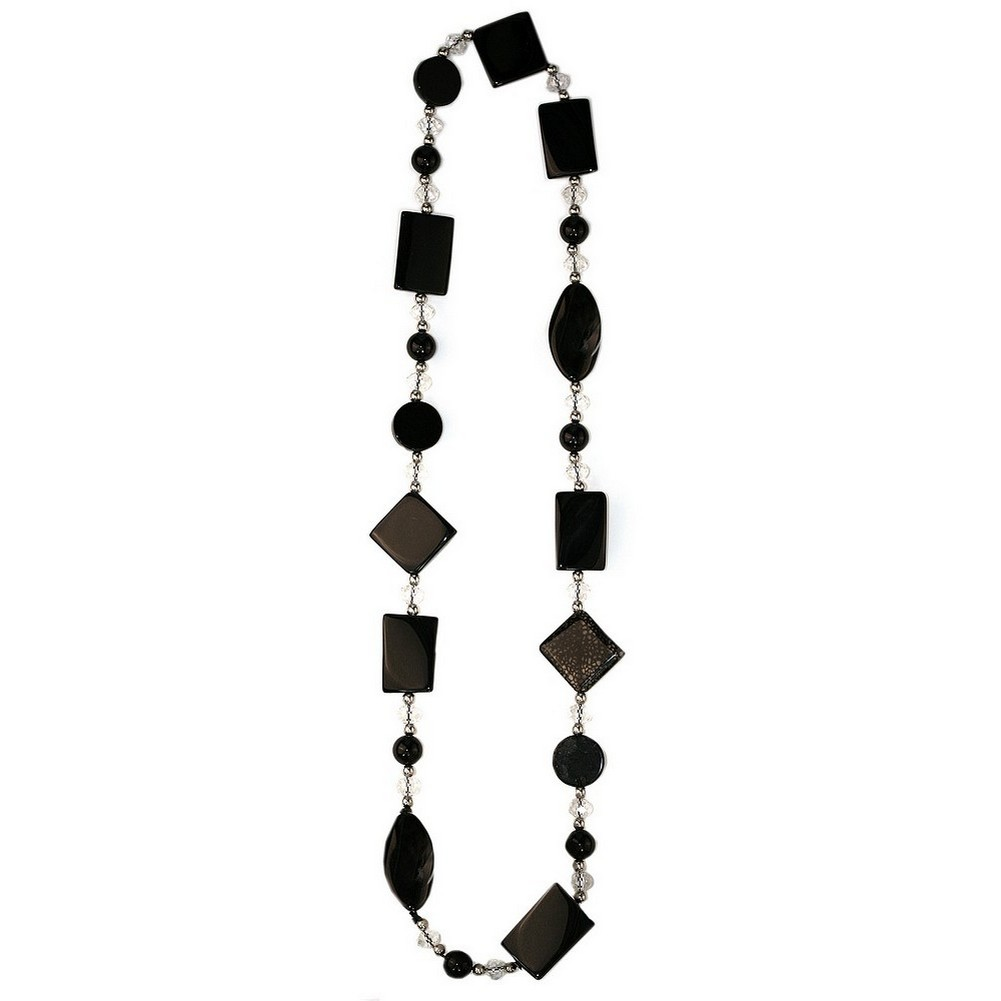 Necklace Black & Clear Made With Agate & Crystal Glass by JOE COOL