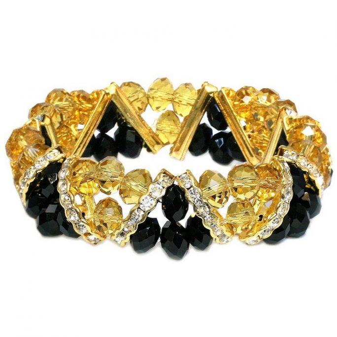 Bracelet V-line Facet Gold & Black Gold Made With Crystal Glass & Zinc Alloy by JOE COOL