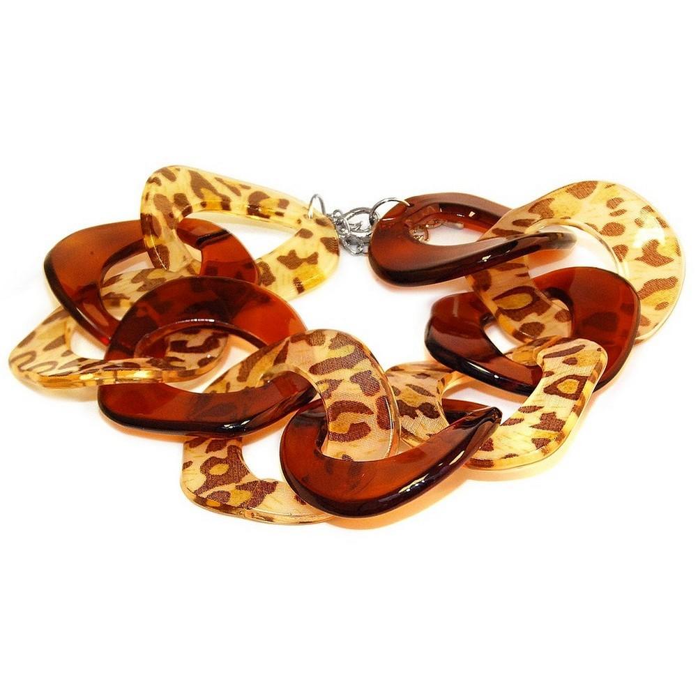 Bracelet Chain Amber Animal Print Made With Acrylic by JOE COOL