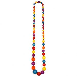 Bead String Necklace Graduated Rainbow Colours Made With Wood by JOE COOL