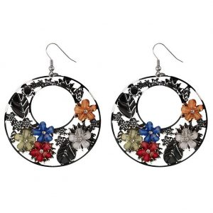 Drop Earring Crystalled Flowers Made With Copper & Resin by JOE COOL