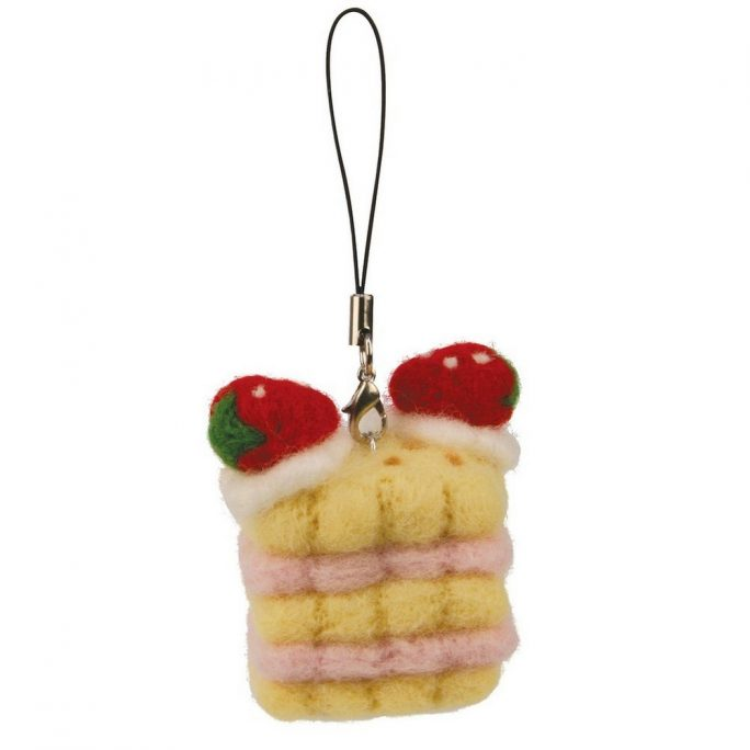 Keyring Strawberry Cake Made With Wool & Felt by JOE COOL