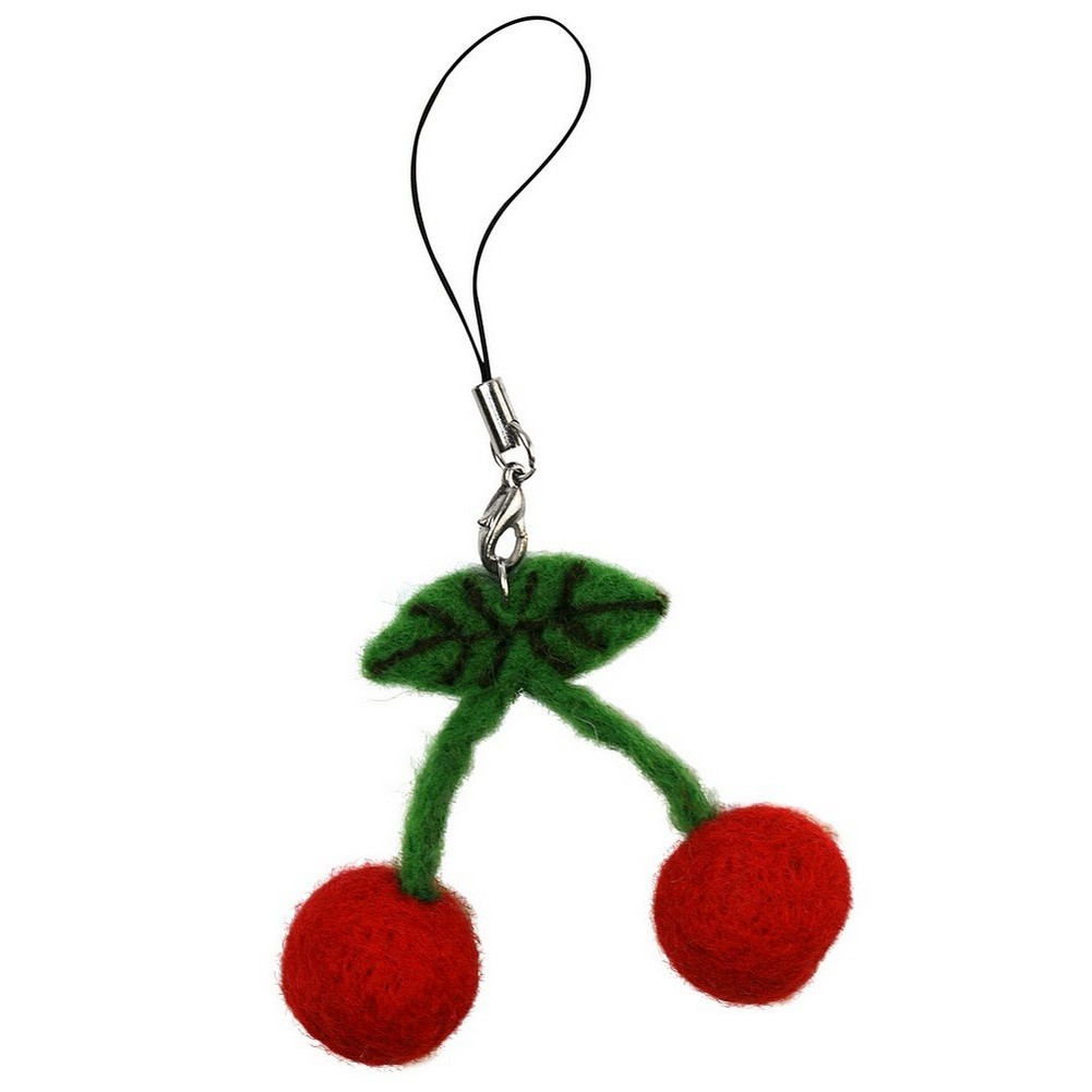Keyring Cherries Made With Wool & Felt by JOE COOL