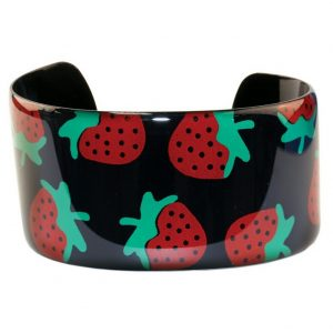 Bangle Strawberries On Black Made With Copper & Enamel by JOE COOL