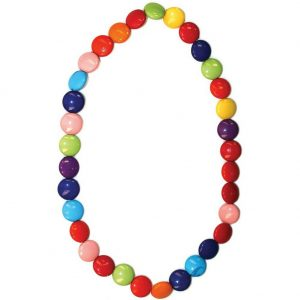 Bead String Necklace Smartie Or M&m Shaped Beads Elasticated Made With Resin by JOE COOL