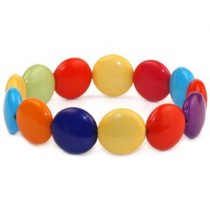 Bracelet Smartie Or M&m Shaped Beads Elasticated Made With Resin by JOE COOL
