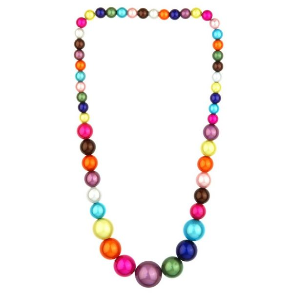 Necklace Multi-coloured Graduated Magic Beads Elasticated Made With Resin by JOE COOL