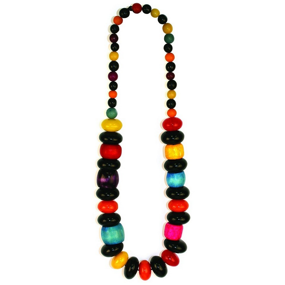 Necklace Black Havana Flat Saucer Bead Made With Wood by JOE COOL
