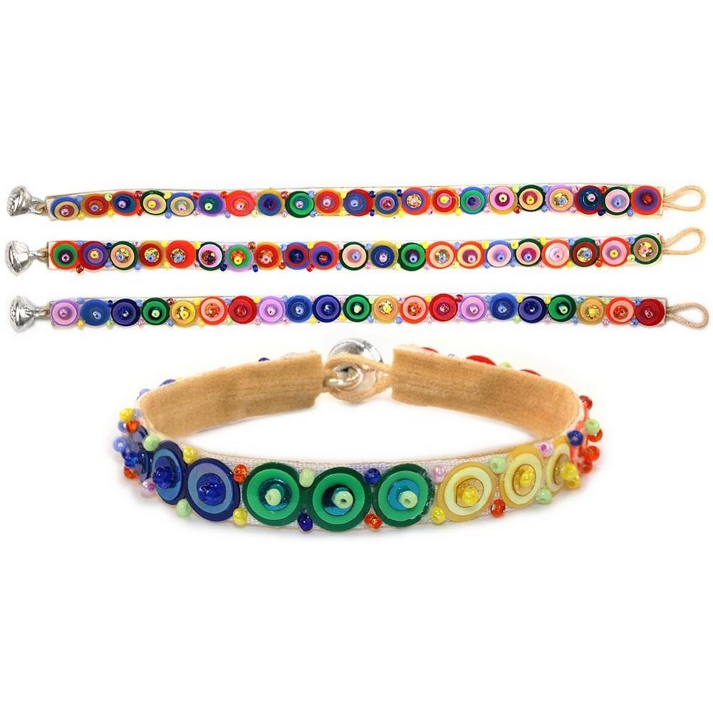 Bracelet Single Line Sequin Rainbow Made With Glass & Bead by JOE COOL