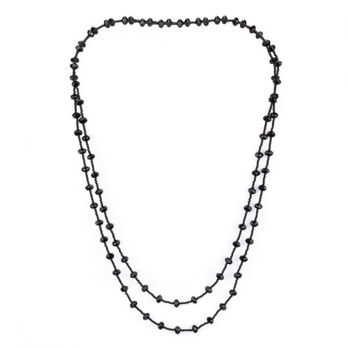 Bead String Necklace Faceted Made With Crystal Glass by JOE COOL