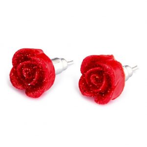 Stud Earring Rose With Dew Drops Made With Resin by JOE COOL