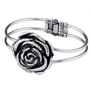 Bangle Rose Antique Finish 68mm Made With Zinc Alloy & Silver Plated by JOE COOL