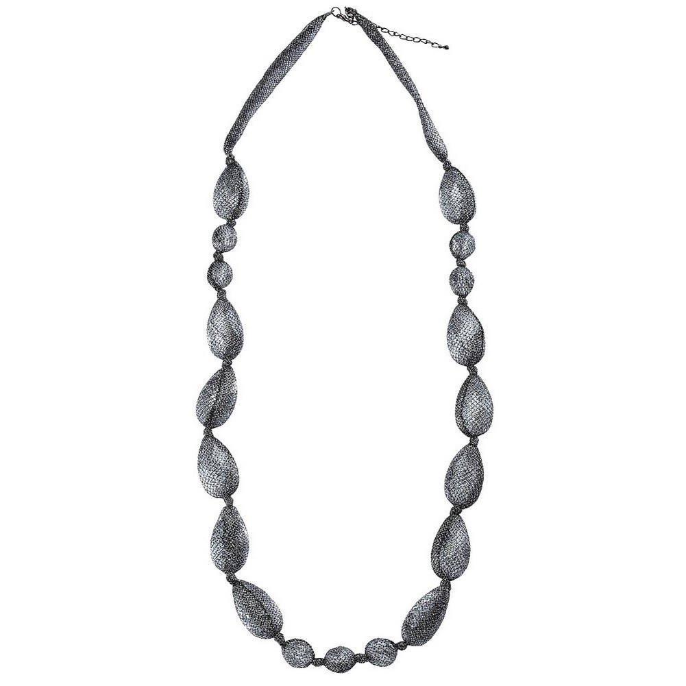 Bead String Necklace Pebble And Lace  96cm + 7cm Made With Nylon & Acrylic by JOE COOL
