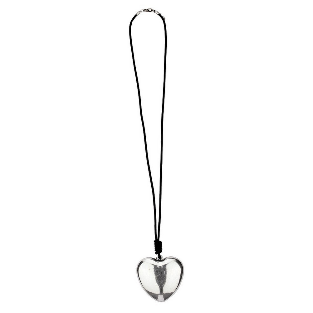 Necklace With A Pendant 70mm Heart 72cm Made With Leather & Zinc Alloy by JOE COOL
