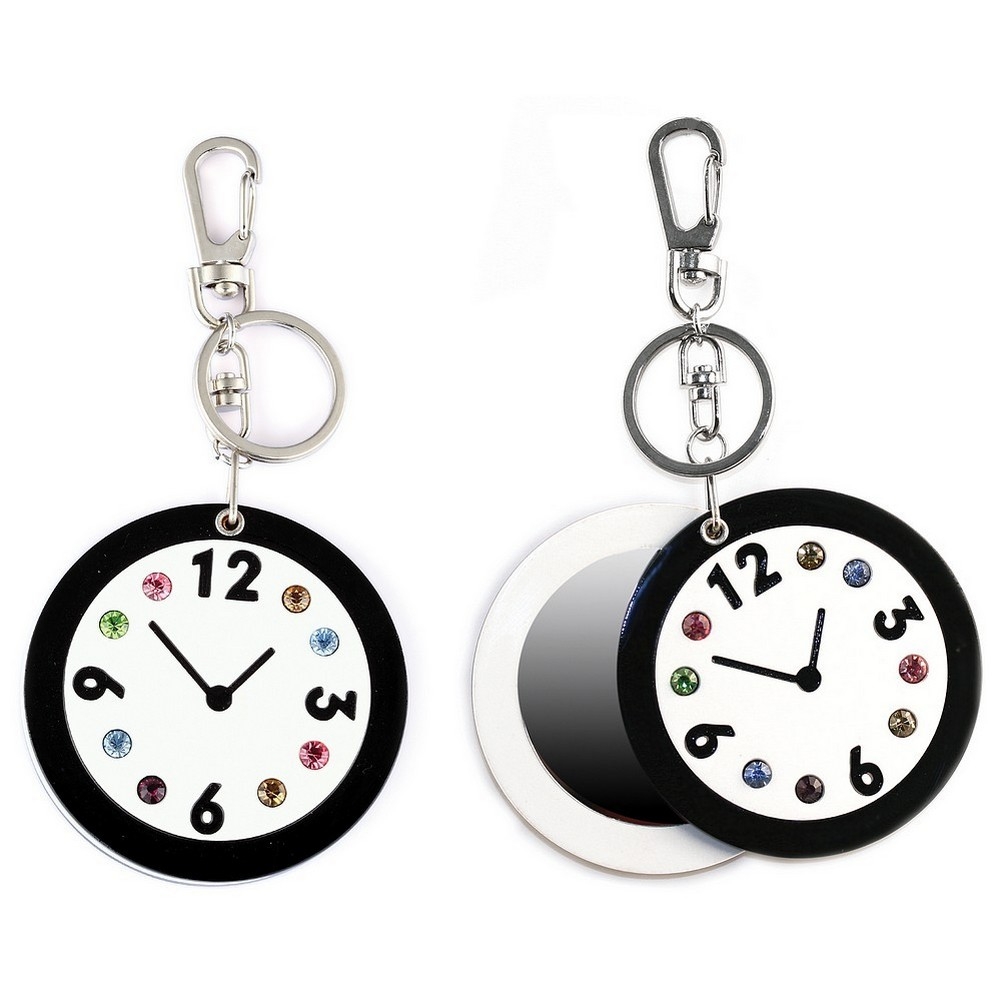 Keyring Compact Mirror Clock Face 13cm Made With Crystal Glass & Acrylic by JOE COOL