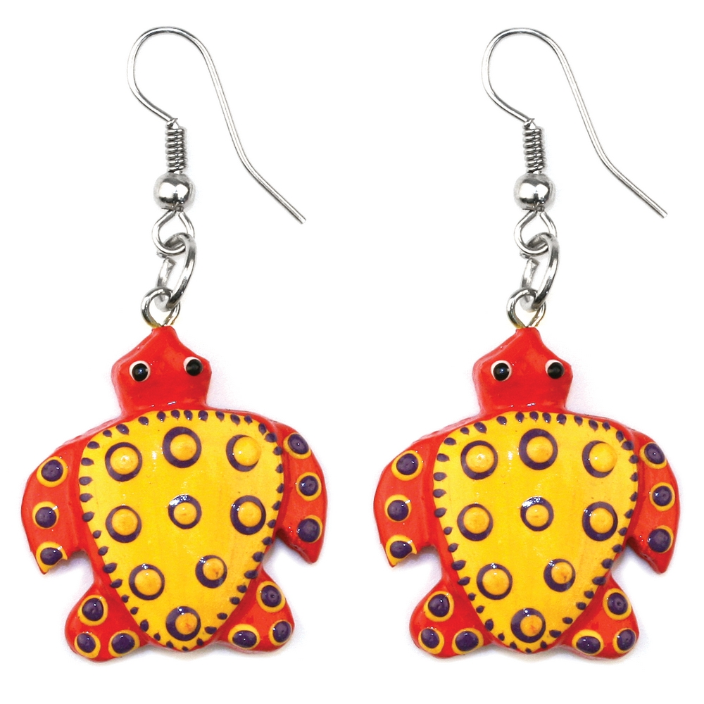 Drop Earring Turtle Made With Wood by JOE COOL