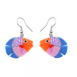 Drop Earring Hand Painted Assorted Fish Made With Wood by JOE COOL