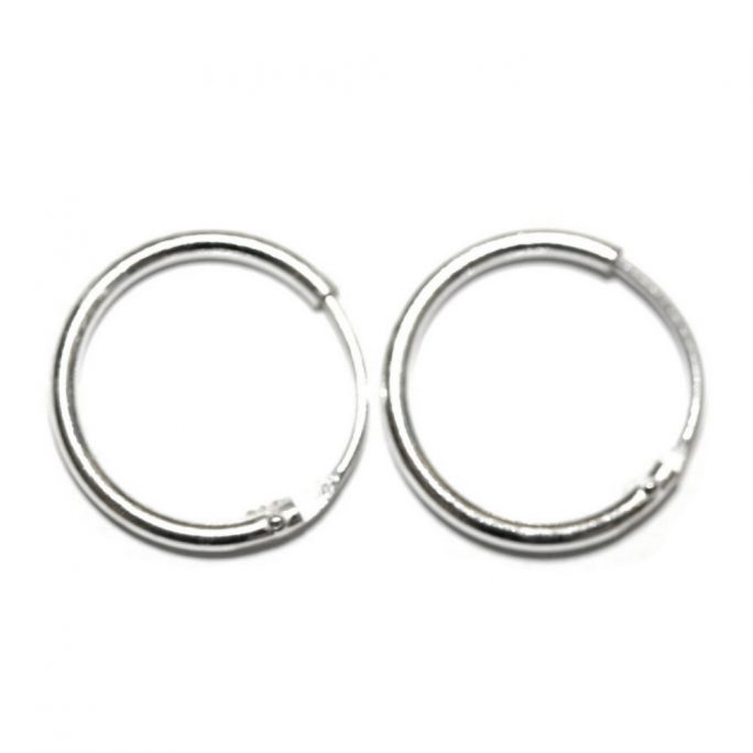 Hoop Earring Hinged 14mm Made With 925 Silver by JOE COOL