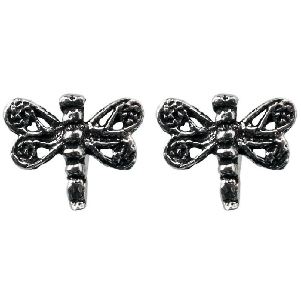 Stud Earring Assorted Small Designs Dragonfly Made With 925 Silver by JOE COOL
