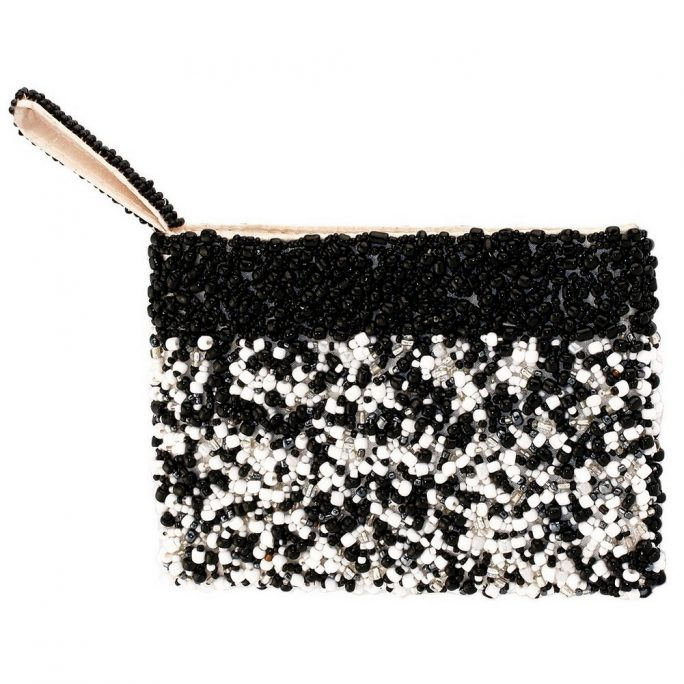 Coin Purse Handsewn Random Design With Trim Made With Glass Beads & Fabric by JOE COOL