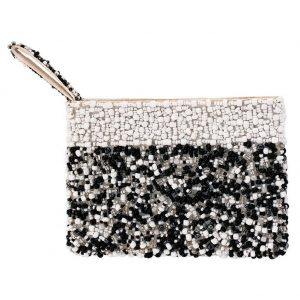 Coin Purse Handsewn Random Design With With Trim Made With Glass Beads & Fabric by JOE COOL