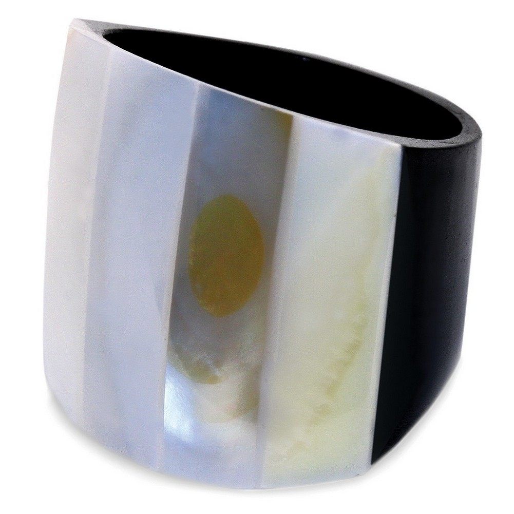 Ring Striped 20mm Made With Resin & Mother Of Pearl by JOE COOL
