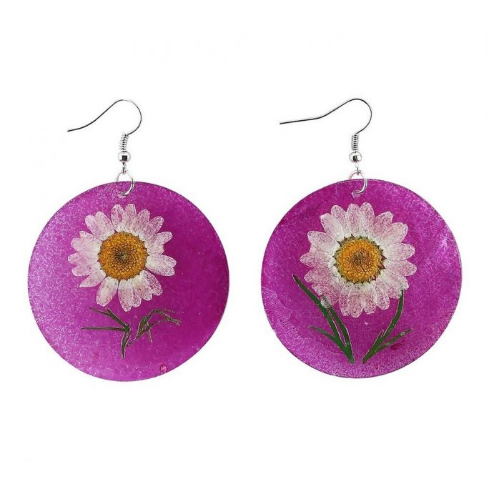 Drop Earring Daisy Flower Made With Capis Shell by JOE COOL