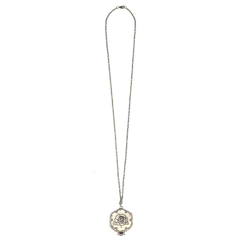 Necklace With A Pendant Rose Mirror Made With Tin Alloy & Gold Plated by JOE COOL