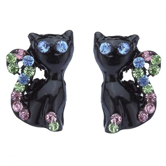 Stud Earring Cat 15mm Made With Zinc Alloy by JOE COOL