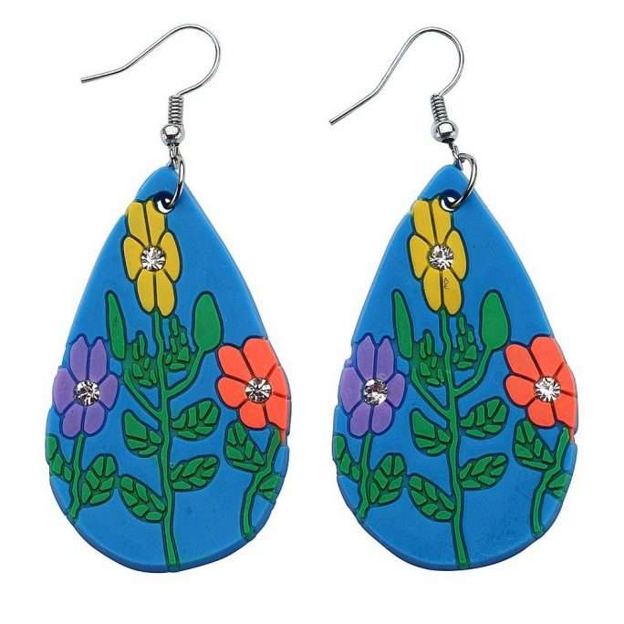 Drop Earring Neon Tear Drop Flower Made With Silicon by JOE COOL