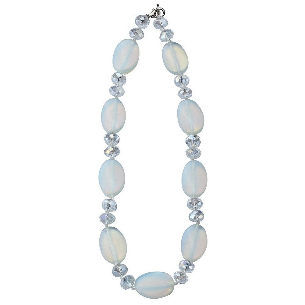 Bead String Necklace Opaque - Moon Beads 46cm + 5cm Made With Glass by JOE COOL