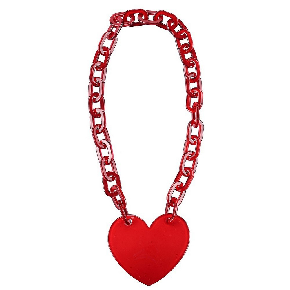 Necklace With A Pendant Link Chain With A Heart Made With Acrylic by JOE COOL