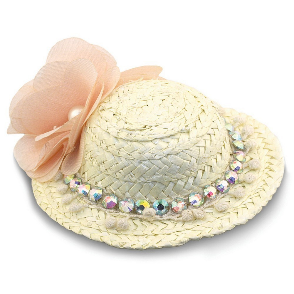 Hairwear Bonnet With Diamante On Crocodile Clip 100mm Made With Raffia by JOE COOL
