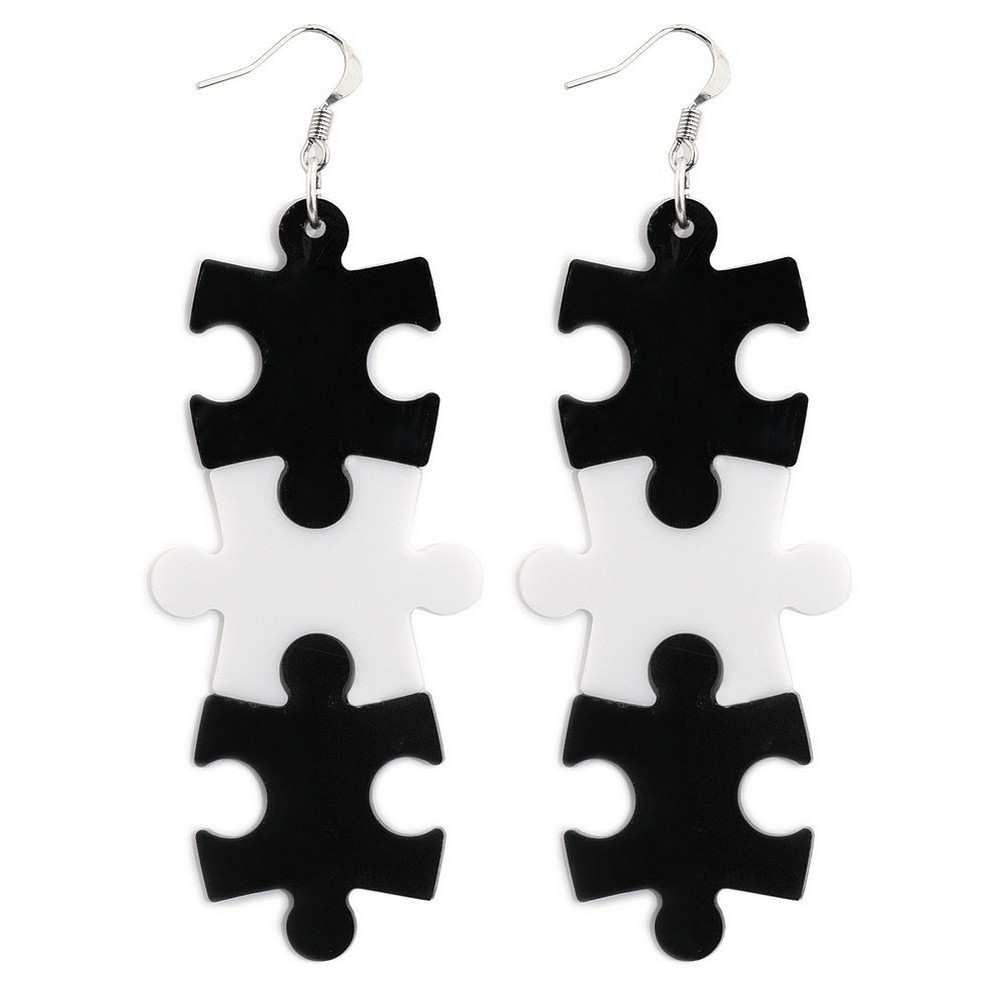 Drop Earring 3 Piece Jigsaw Made With Acrylic & Surgical Steel by JOE COOL