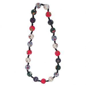 Bead String Necklace Beads With Flower Design 80cm Made With Fabric & Glass by JOE COOL