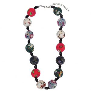 Bead String Necklace Beads With Flower Design 50cm Made With Fabric & Glass by JOE COOL