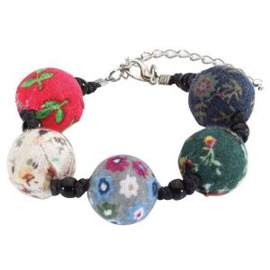 Bracelet Beads With Flower Design Made With Fabric & Glass by JOE COOL